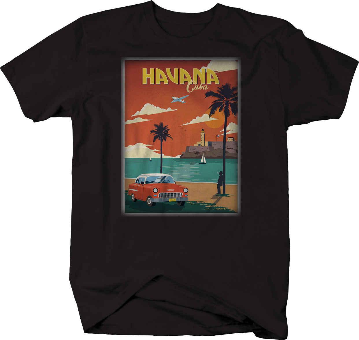 Гавана Куба Классическая шевроя Belair Hotrod автомобиль открытка футболка