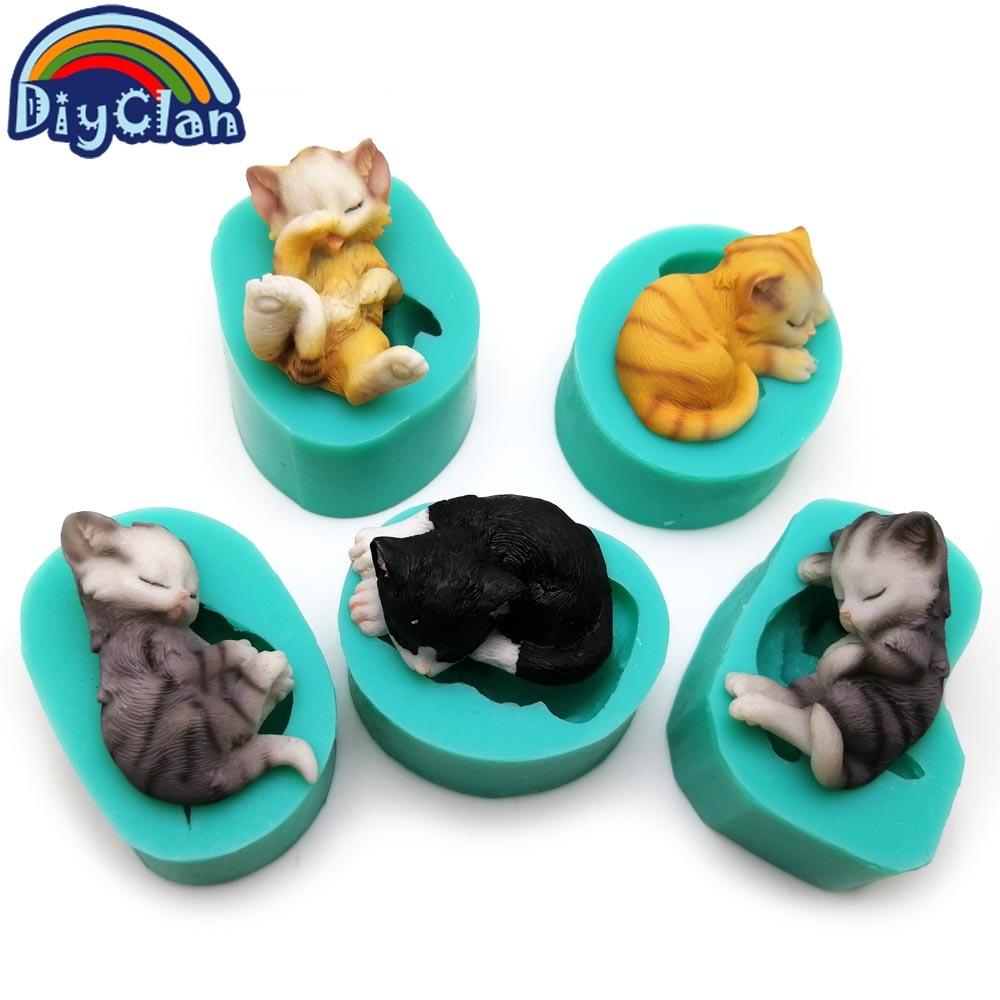 3D gatitos de silicona fondant moldes de pastel encantador gato - Cocina, comedor y bar - foto 2