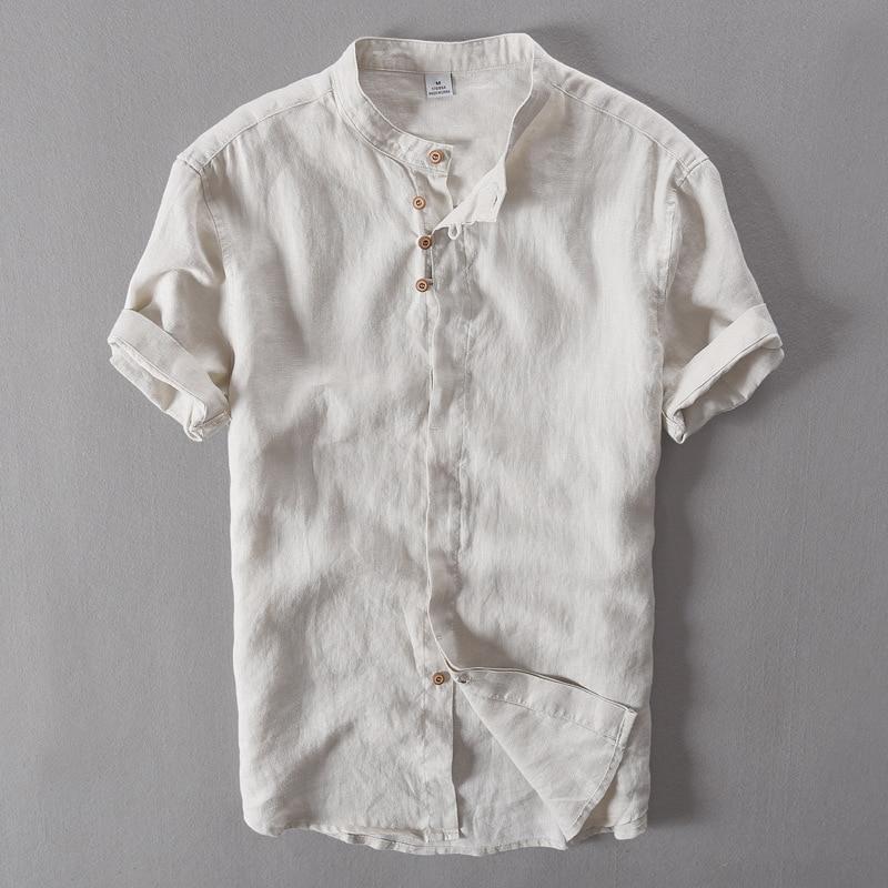 2017 새로운 레트로와 현대적인 스타일 100 % 리넨 카키 셔츠 남자 짧은 소매 간단한 패션 남자 셔츠 독특한 디자인 Camisa masculina