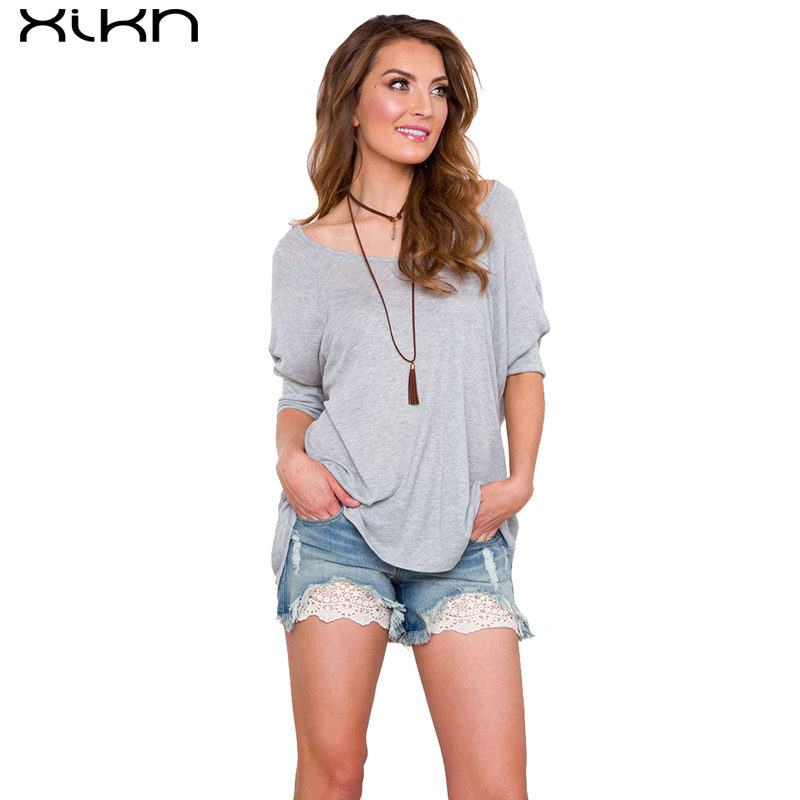 XIKN Women Cotton Half sleeve T Shirt New O-neck loose T-Shirts Casual Tops & Tees Plus Size AG133