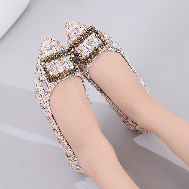 Luxury Brand 2018 Spring Fashion Women Pointed Toe Designer Crystal Flats Suede Rhinestone Party Black Flat Ballerina Boat Shoes