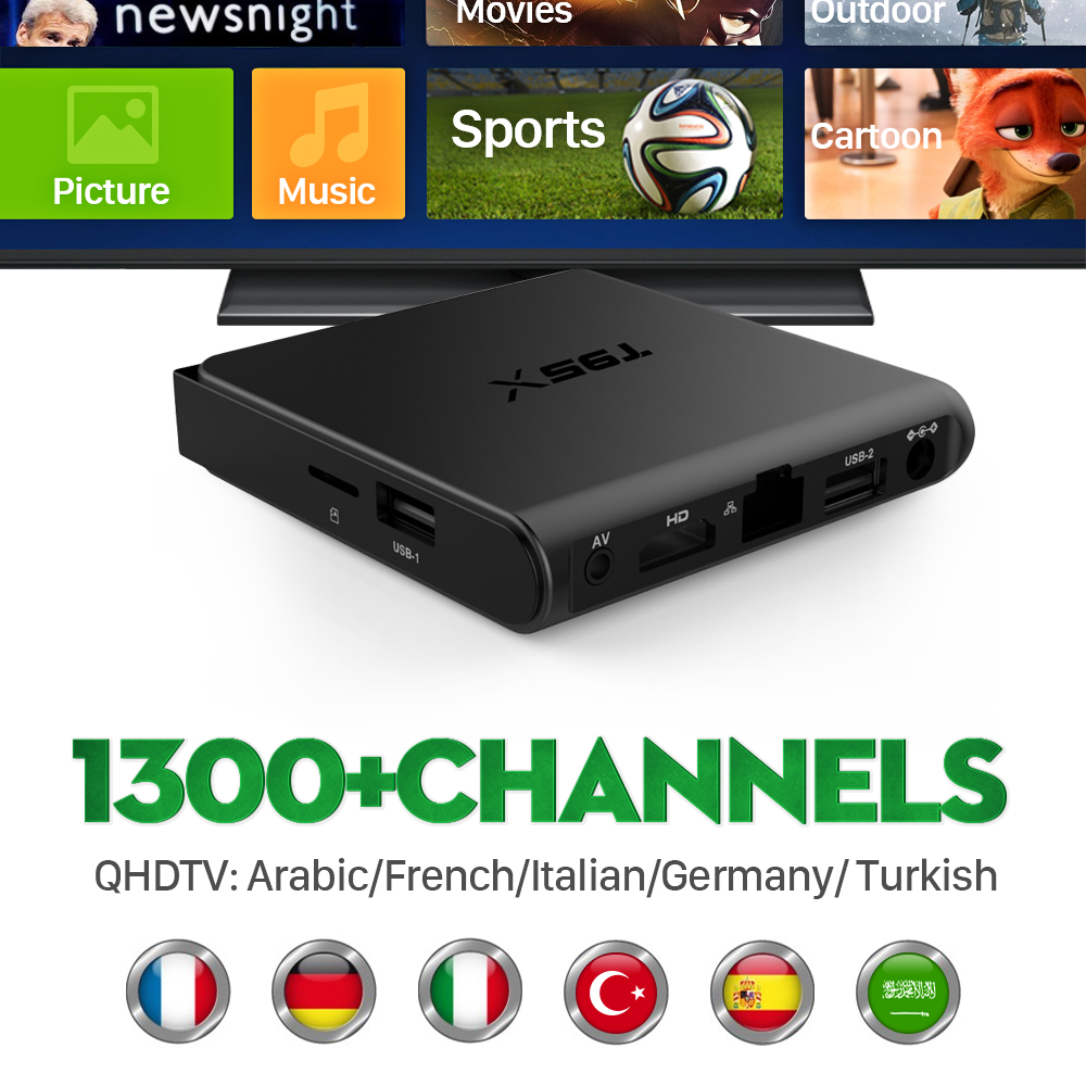 ФОТО Europe Smart TV Box S905X Android 6.0 IPTV Receiver 1300+French Turkish Live Channels Media Player Better Than MXV Set Top Box