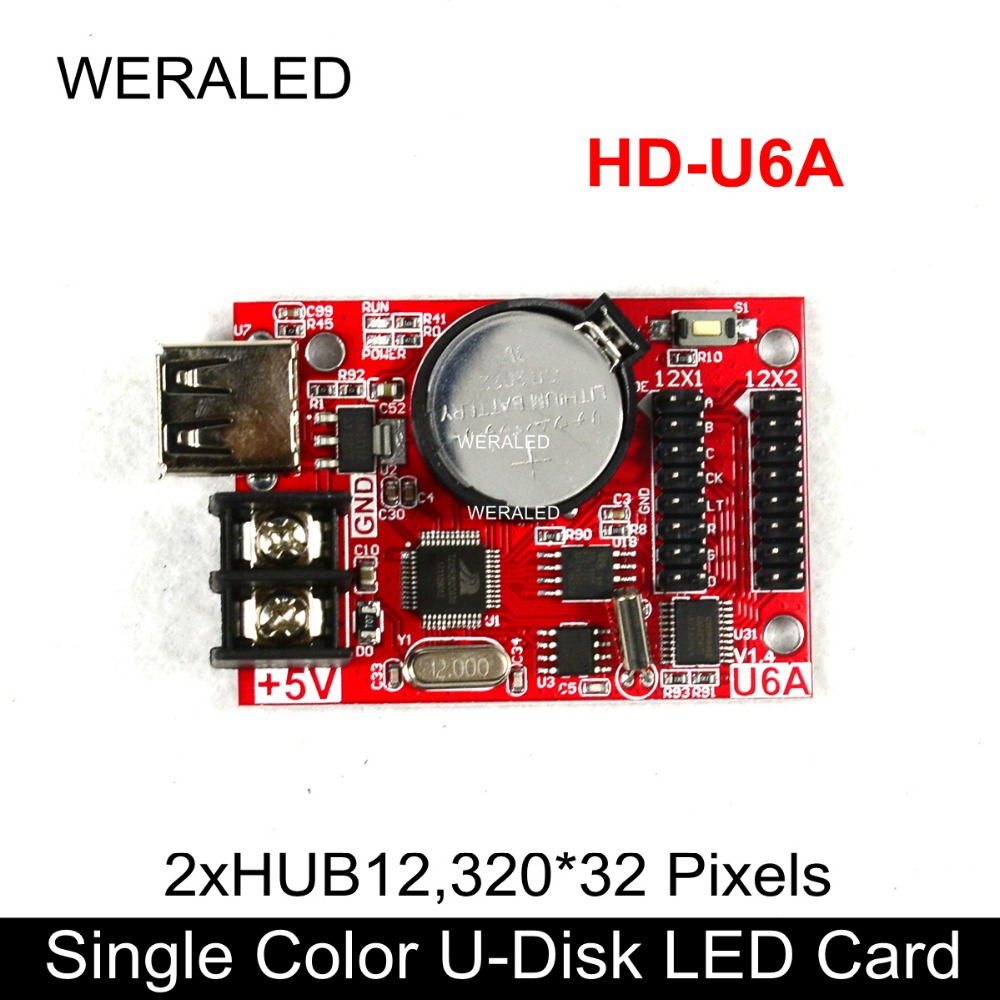 Huidu HD-U6A USB-Disk Single Color & Dual Color Message Board LED Control Card Support HUB12 P10 LED Module