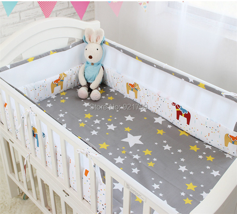 New Security Breathable Baby Crib Bumpers Cartoon Baby Bedding Sets