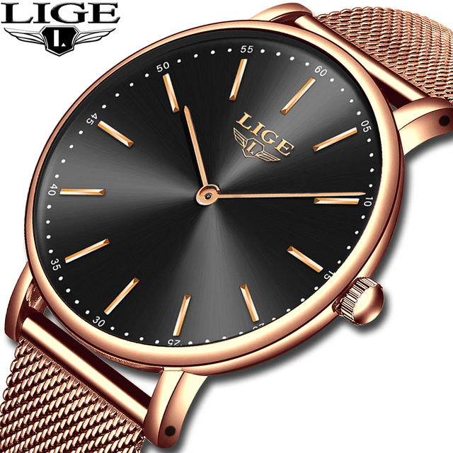 2020 LIGE New Rose Gold Women Watch Business Quartz Watch Ladies Top Brand Luxury Female Wrist Watch Girl Clock Relogio Feminin