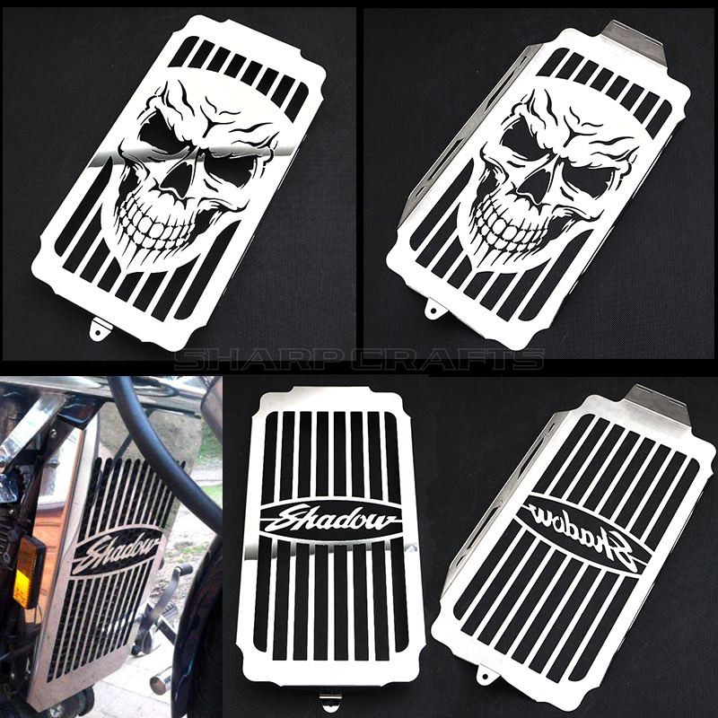 Motorcycle Steel Chrome Skull Radiator Grill Cover Guard Protector For Honda Shadow Spirit Sabre VT1100 1987