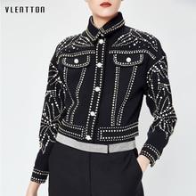 2019 New fashion Jean jacket Diamonds Short sequined coat spring autumn Casual black denim Long sleeve female