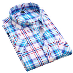 2017 hot sale men short sleeve shirt fashion quality cotton plaid casual shirt slim fit soft.jpg 250x250