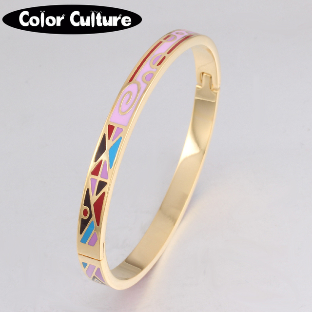 Vintage Slim Bracelet Bangle Color Design Pattern Gold Opening For Women Mother Enamel Bracelets Birthday