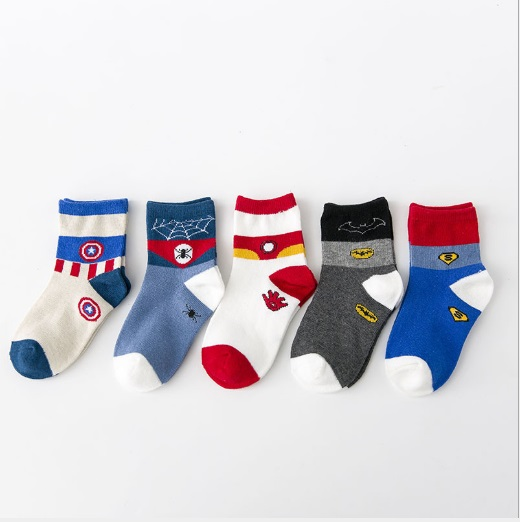 5Pairs/Lots Kids Marvel Comics Cartoon Socks Superman Batman Short Socks Boys Girls Captain American The Flash Cotton Socks