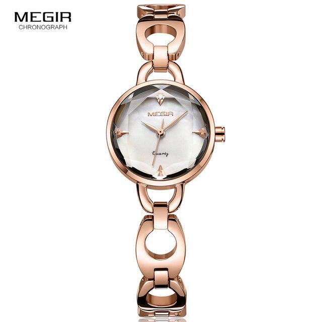 4df389a80963 Reloj MEGIR de las mujeres pulsera de Metal Simple relojes de cuarzo reloj  de oro rosa