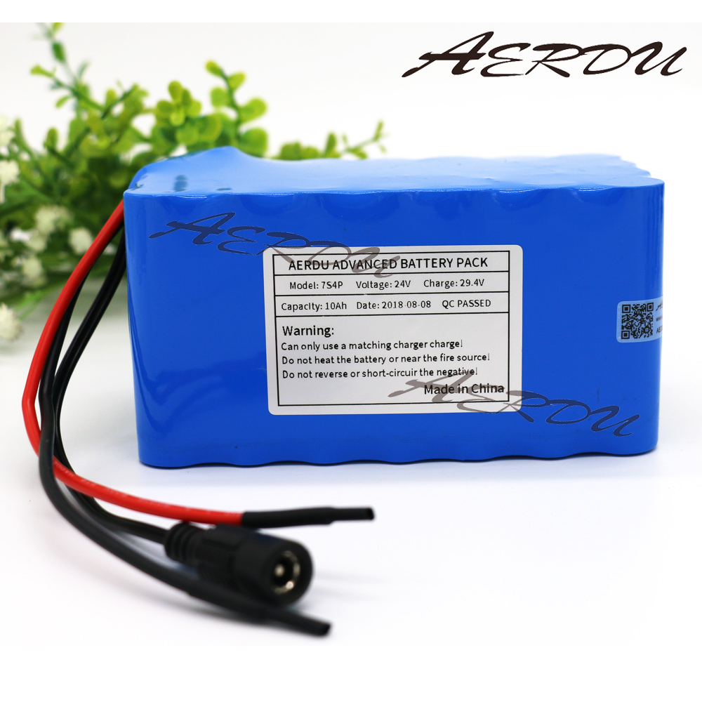 AERDU 7S4P 24V 25.9V 29.4V 10Ah 18650 lithium battery pack electric bicycle light weight ebike Li-ion batteries built in 15A BMS fikida 7s 24v 25 9v 29 4v 10ah 18650 lithium ion battery pack lightweight electric bicycle with 15a bms power tool motor battery