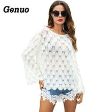 Genuo Autumn Winter Sweaters Women Sexy Hollow Out Flare Sleeve Knitted Sweater Loose Casual Pullover Knitwear Pull Femme Hiver