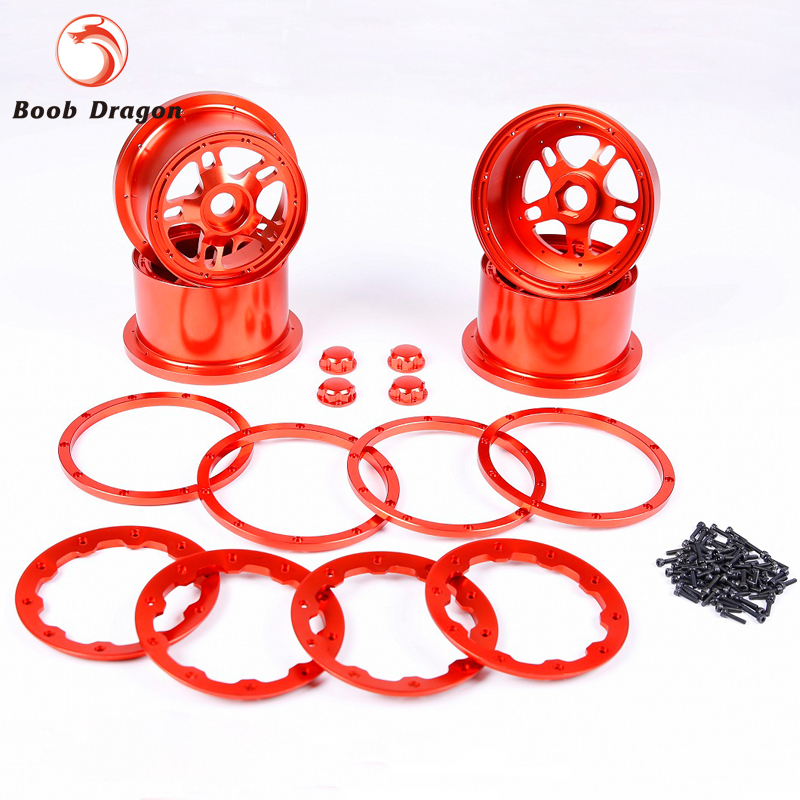 Baja CNC Alloy Wheel Hub With Alloy Beadlock Set for 1/5 HPI Baja 5B SS Rovan King Motor main pump combination for gtb 4 wheel hydraulic brake set fit for 1 5 rc car hpi baja 5b ss