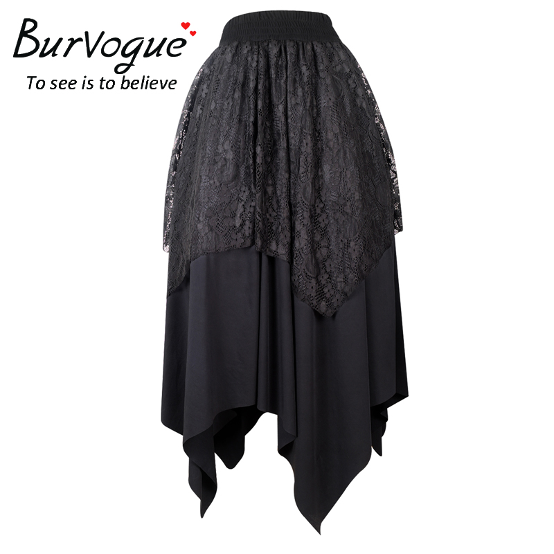 Burvogue Steampunk Skirts Steampunk Lace Maxi Pleated Skirts New arrival Women Skirt Elastic Gothic Irregular Long Lace Skirt