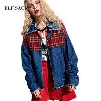 ELF SACK 2017 Women Denim Parchwork Short Jackets Red Plaid Girls Cut Hem Loose Zepper Blue Denim Jackets Female Short Costs