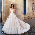 New Querida A Linha de Spaghetti Strap Vestido de Noiva Elegante Plissado Apliques Lace Alta Qualidade Vestidos de Noiva de Luxo 2017 importado
