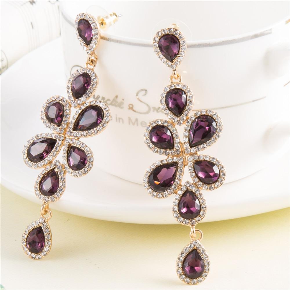 7 8 Cm Luxurious Chandelier Earrings Bridesmaids Jewelry Vintage Purple Crystal Gold Bridal Wedding Earings Brinco In Drop From
