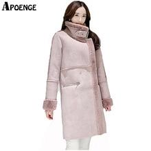 APOENGE Women Winter Long Jacket Coat 2017 Parka Mujer Fashion Suede Leather Warm Lambswool Jacket Outwear Overcoat Padded QN444