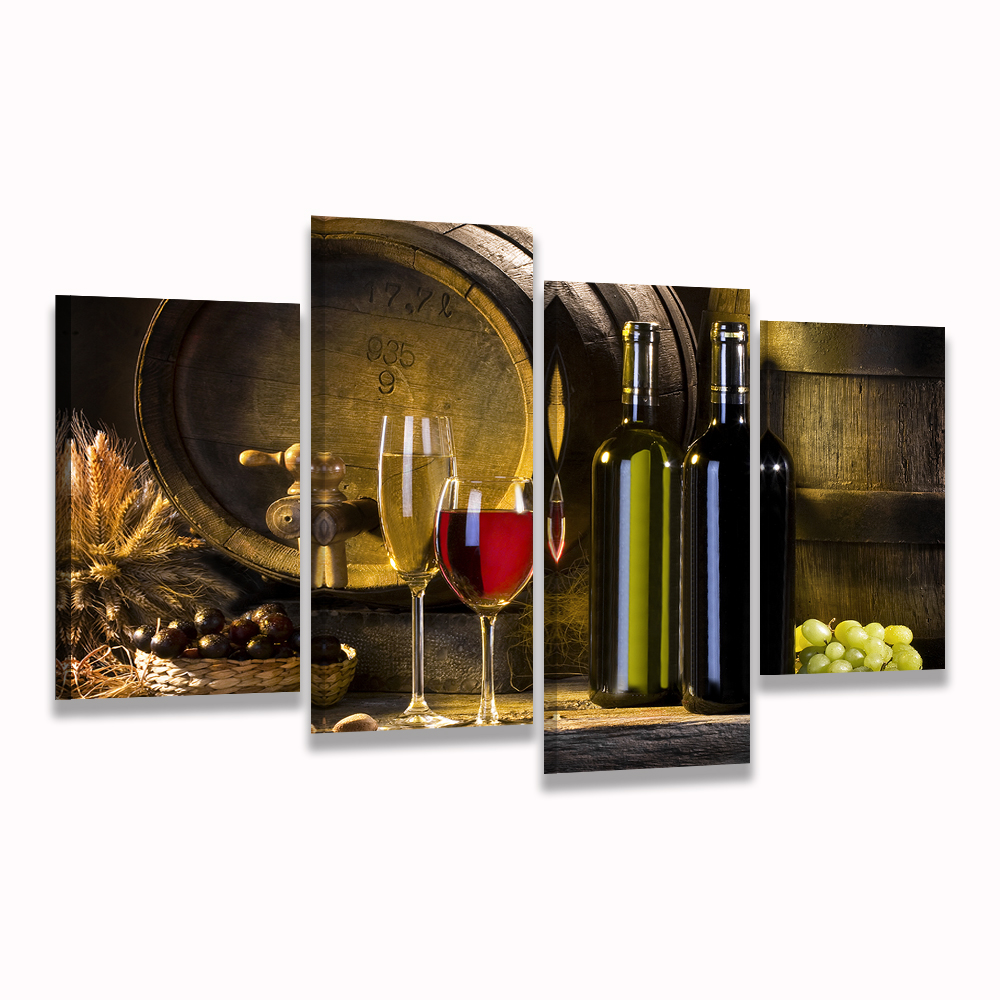 2017 Wall Art Fruit Grape Red Wine Glass Picture Art For: HD Printed 4 Piece Canvas Art Grape Red Wine Glass Oak