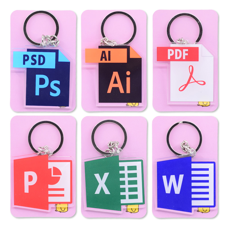 Software Icon Keychain Double Sided Cartoon Keyrings Cute Anime Acrylic Pendant Accessories PCB260-265