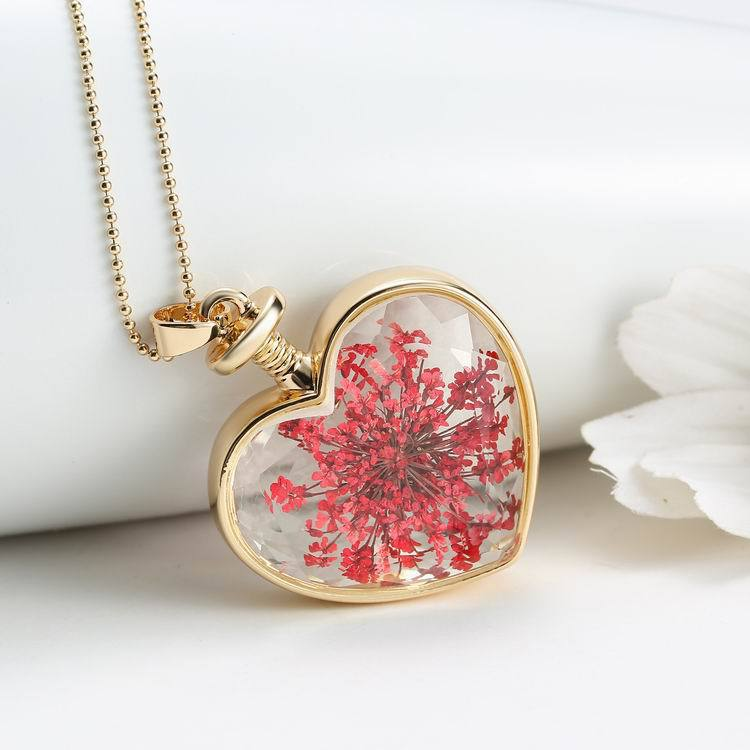 Clear glass peach heart floating charms living memory flower inside love locket pendant necklace in pendant necklaces from jewelry accessories on clear glass peach heart floating charms living memory flower inside love locket pendant necklace in pendant n Images