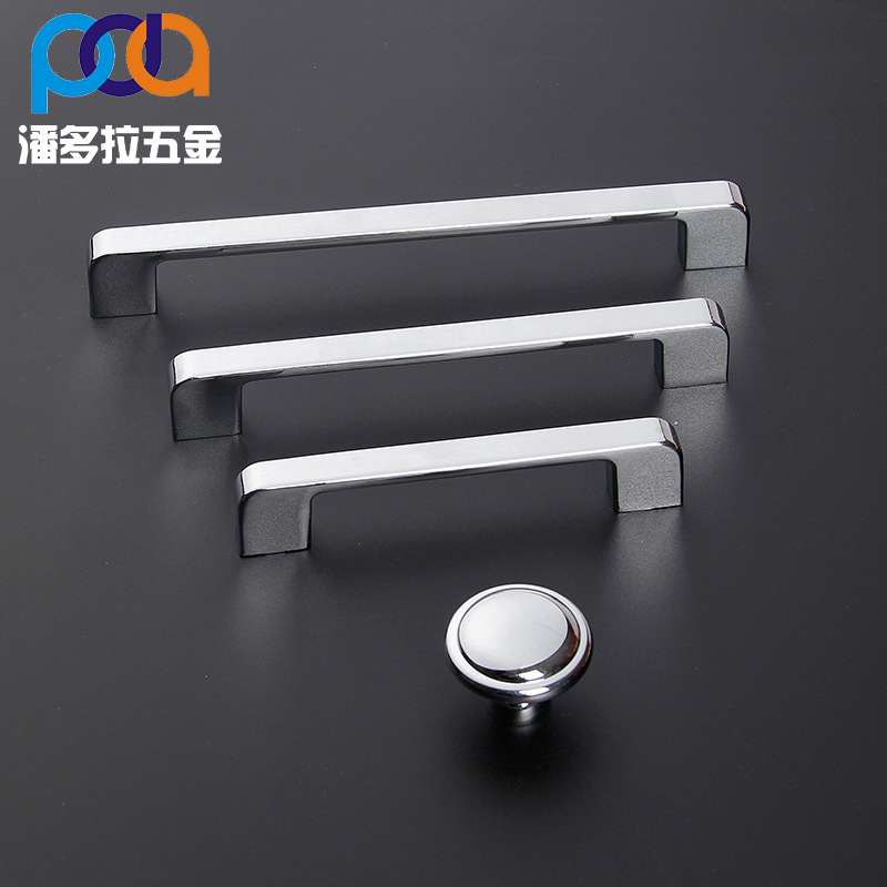 Modern Simple Stainless Steel Brushed Handle Cabinet Wardrobe Solid Drawer Cabinet Door Handle Silver Double Surface Handle цены