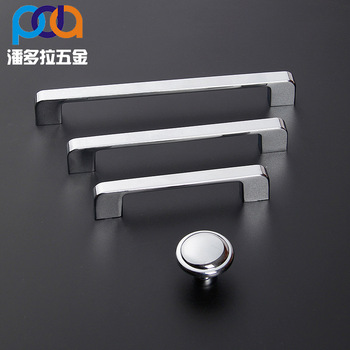 Modern Simple Stainless Steel Brushed Handle Cabinet Wardrobe Solid Drawer Cabinet Door Handle Silver Double Surface Handle