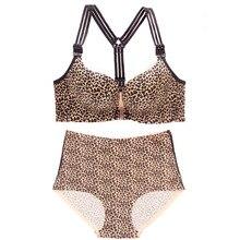 plus size women push up bra Front button without steel rim large size bra set Wrap up leopard sexy lingerie suit underwear women цена