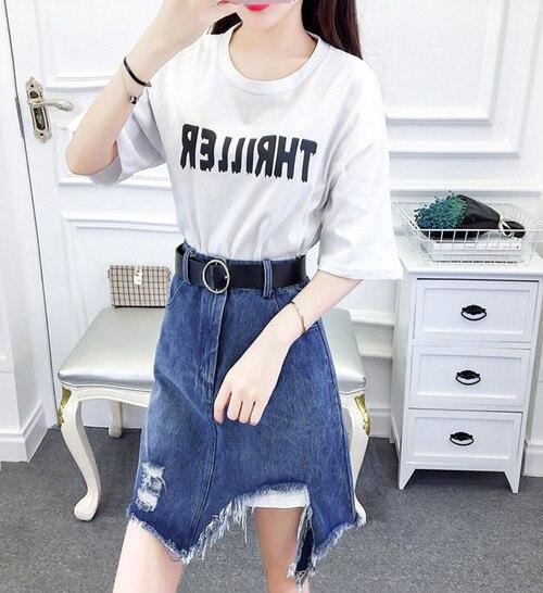 HAMALIEL/летний комплект из 2 предметов, модная женская красная свободная длинная футболка с буквенным принтом для девочек+ джинсы, облегающая юбка с кисточками - Цвет: Белый