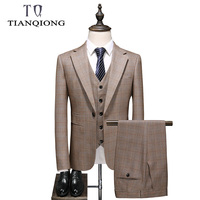 TIAN QIONG Brand Khaki Suit Men 2019 New Slim Fit Wedding Suits for Men High Quality Men's Business Casual Suit Suits with Pants
