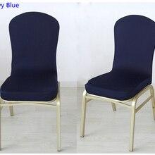 Темно-синий цвет полустильные чехлы на стулья из спандекса для свадьбы, отеля, дома, банкета, украшения на стулья из лайкры, эластичный Чехол для стула для вечеринки