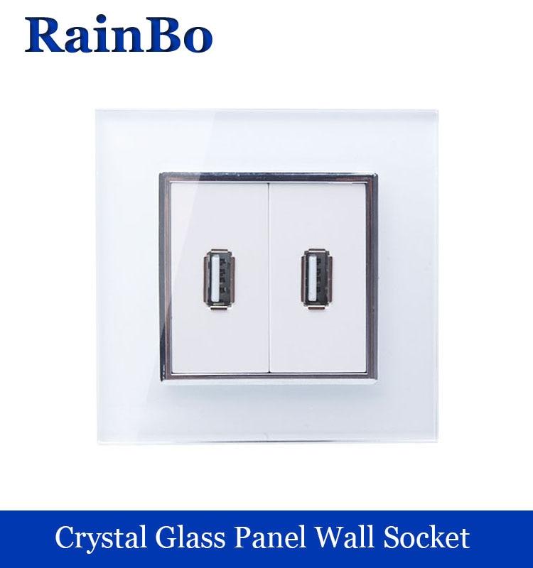 купить rainbo brand wall USB socket power NEW EU Wall Socket EU Standard USB Power Socket  Crystal Glass Panel недорого