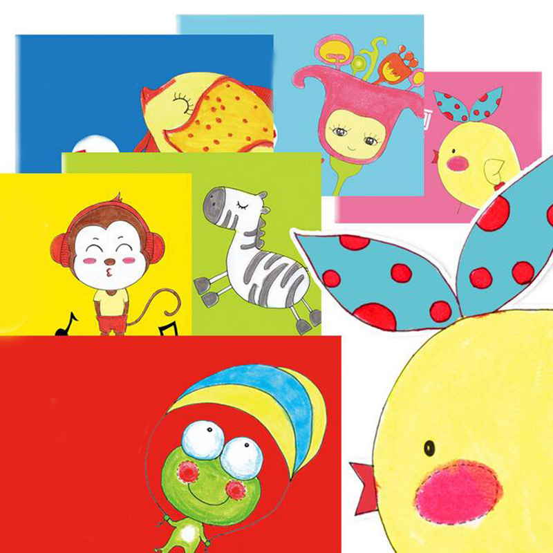 New 16 Pages Colorful Diy Cartoon Childrens Hand Painted
