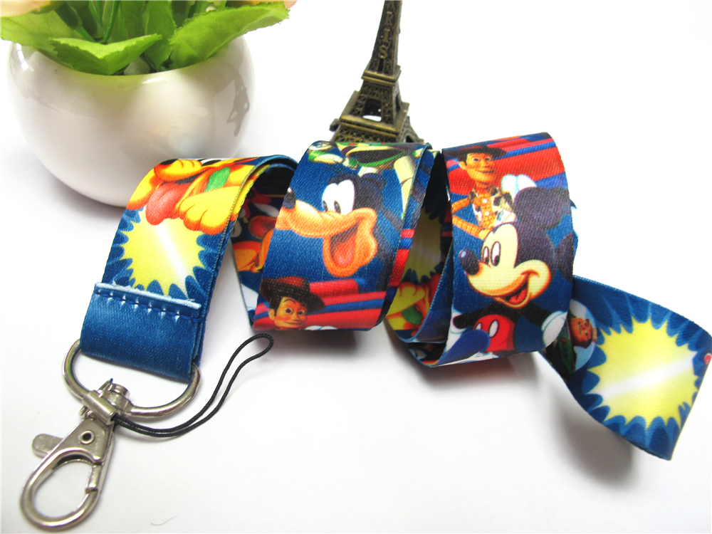 Boys/Girls Mickey Mouse Key Lanyard ID Cards Holders Minnie Mobile Phone Neck Straps