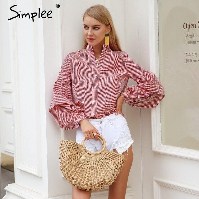 Simplee Винтаж v-образным вырезом Блуза в клетку женские длинные с пышными рукавами летняя блузка рубашка 2018 Уличная Повседневная полоса черная blusas топы