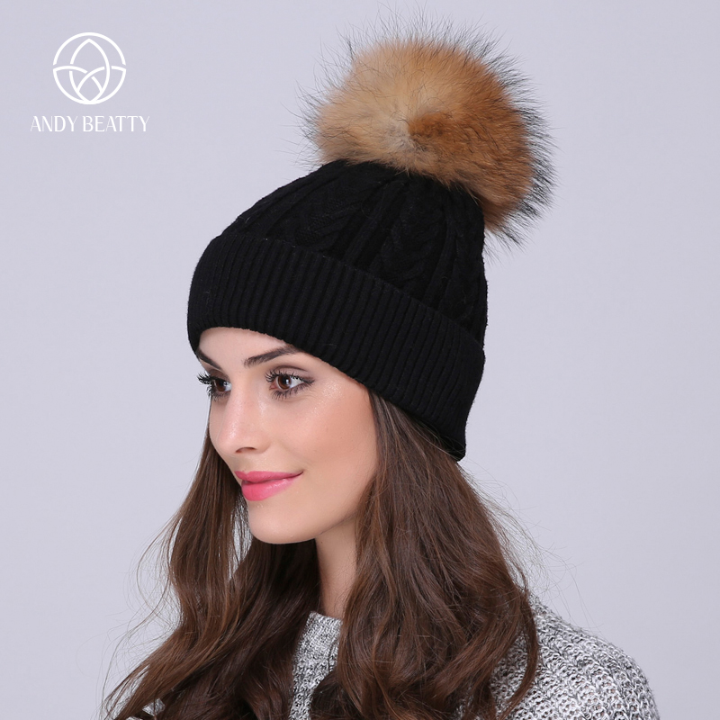 Andybeatty Autumn winter beanies hat unisex knitted wool Skullies casual cap with real raccoon fox fur pompom ski gorros cap the new children s cubs hat qiu dong with cartoon animals knitting wool cap and pile