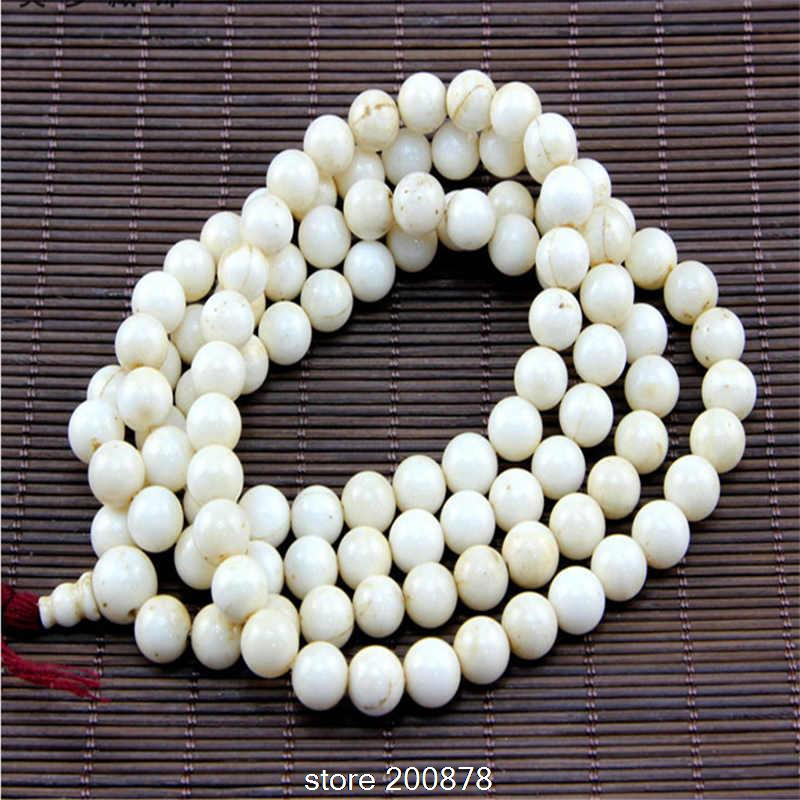 BRO607 qualité tibétain 108 perles ancienne conque coquille prière Mala collier 8.5-9mm népal Fine Naga Tridacna perles