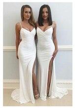 LORIE Mermaid Wedding Dresses Spaghetti Straps Beach Bride Dress Backless Sexy Side Split White Ivory Wedding Gown цена и фото