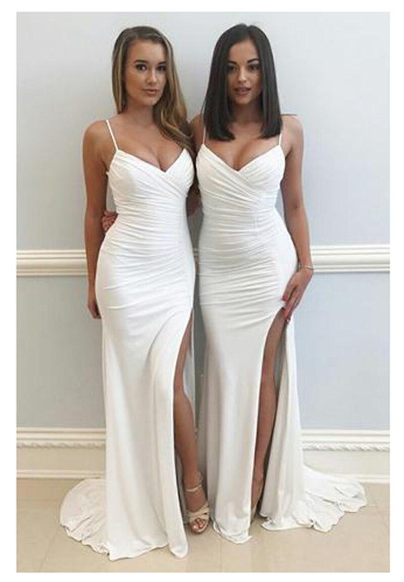 LORIE Mermaid Wedding Dresses Spaghetti Straps Beach Bride Dress Backless Sexy Side Split White Ivory Wedding Gown