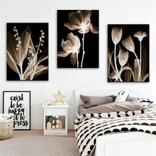Transparent Flowers Home Decor Abstract Wall Art Canvas Print Pure Color Nordic Lotus Flower Painting for Room Office