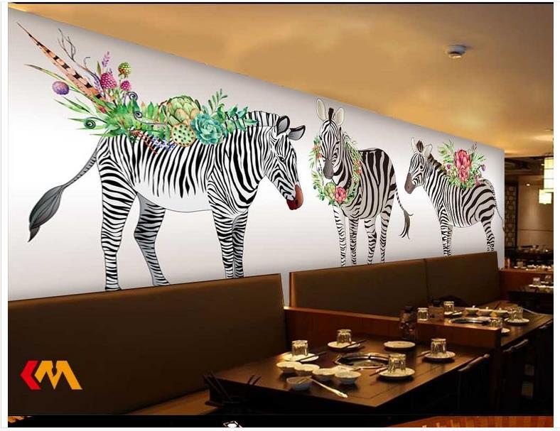 Behang Kinderkamer Zebra : 3d behang custom 3d muurschildering wallpaper 3d cartoon kinderkamer