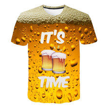 funny t shirts Summer 2019 mens clothing brand o-neck clock jacket beer short-sleeved 3d shirt digital printing T-shirt large