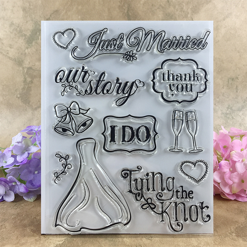 Just Married Thank You I Do Our Story Scrapbook DIY photo cards account rubber stamp clear stamp transparent stamp  14*18 CM 3d laser cut pop up greeting cards happy birthday postcards vintage chic retro peacock thank you gift message cards for girl