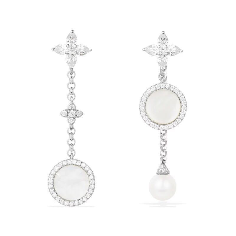 [MeiBaPJ]Real 925 Sterling Silver Simple Personality Pearl Earrings for Women with AAA High Quality Stone Fine Jewelry