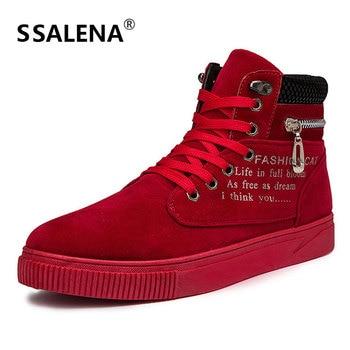 d861a8115 Homens Lace Up Casual Vulcanize Sapatos Dedo Do Pé Redondo Respirável Alta  Corte Sapatos Masculinos Leves Zíper Plana Sapatos Comfortale AA12084