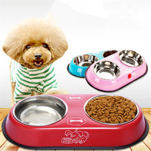 Small color stainless steel double-mouth dog bowl high-grade anti-skid pet bowl dog cat food bowl high quality cheap China bowl he pet supplies cat bowl dog tableware ceramic stainless steel frame easy clean three color high depth and shallow drink bowl