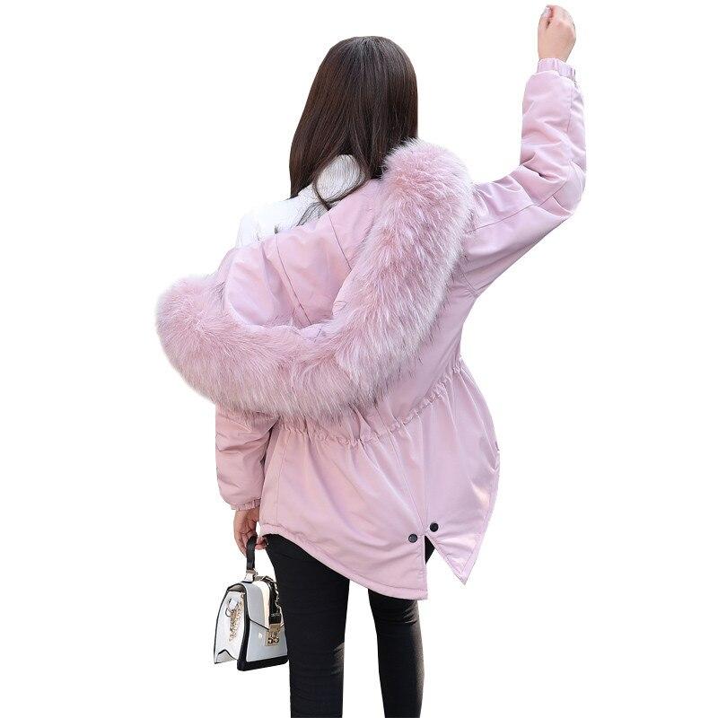 Parkas Fur Mode Femme Cw472 Collar De army Longues pink Hiver Nouveau Coton Survêtement Col Fourrure Thicking Femmes Dames black À Manches Capuche White black gray 2018 Green Veste Chaudes Colour caramel BrdCxeo