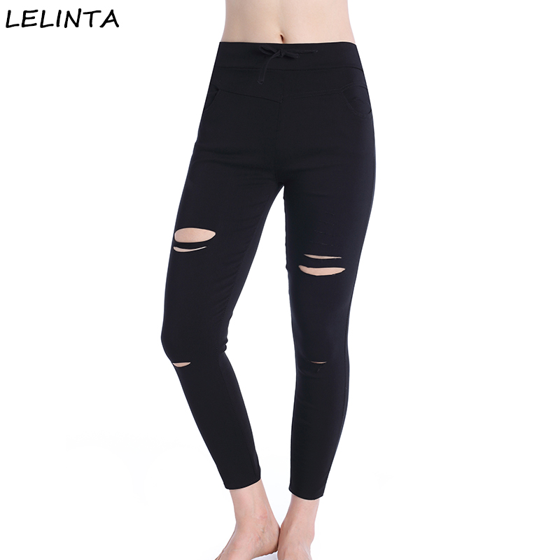 Lelinta Womens Black Cutout Leggings Ripped Skinny -9813
