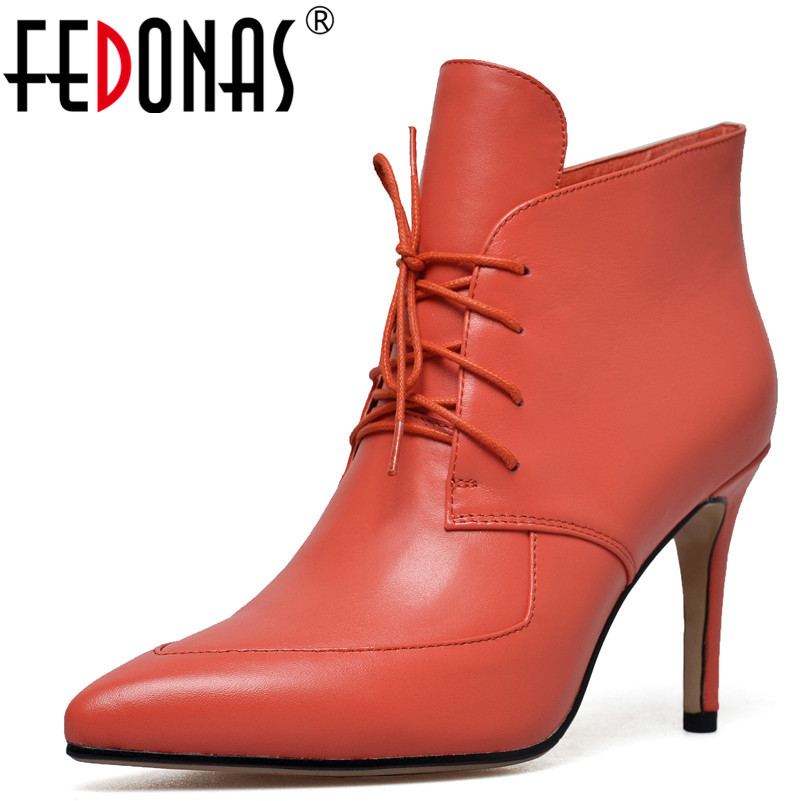 FEDONAS Sexy Women Pointed Toe Pumps High Heeled Lace Up Autumn Winter Ankle Boots Genuine Leather Shoes Woman Office PumpsFEDONAS Sexy Women Pointed Toe Pumps High Heeled Lace Up Autumn Winter Ankle Boots Genuine Leather Shoes Woman Office Pumps